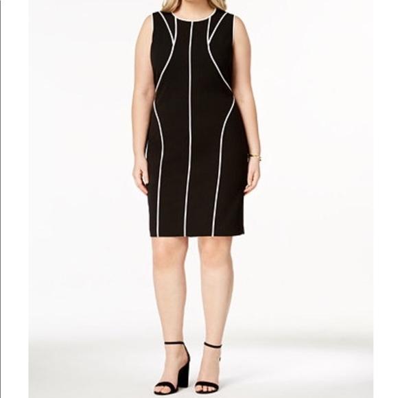 Calvin Klein Dresses Plus Size Piping Trim Sheath Dress Poshmark
